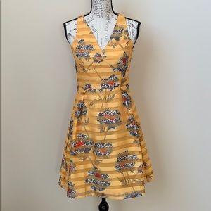 Banana Republic Gold Floral Dress